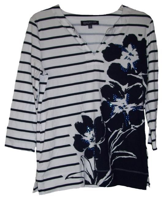 Jones New York Three Fourth Sleeve Split Neck Stripe Pattern Studs At Front Left Floral Print Top White