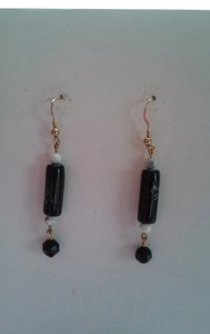 Other Handemade Black, White, & Gray Beaded Pierced Dangle Drop Earrings