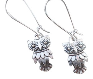Silver Owl Earrings - Owl Jewelry - Simple Everyday Silver Earrings , Free Shipping!