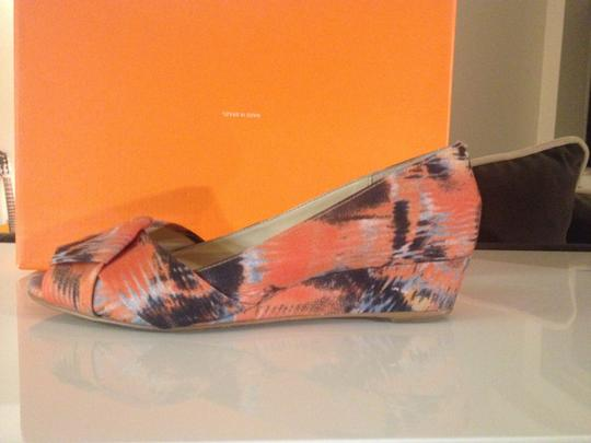 Rowen Floral Peep Toe Spring Summer Flat Comfortable Easy To Match Bow Orange Wedges