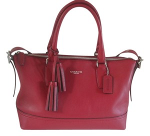 Coach Red Zipper Satchel in Black Cherry
