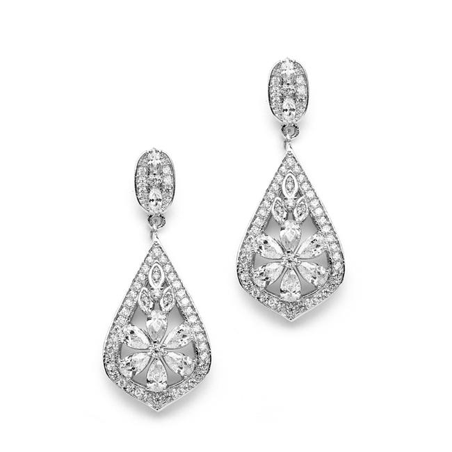 Item - Silver Art Deco Design Cz Drop Earrings