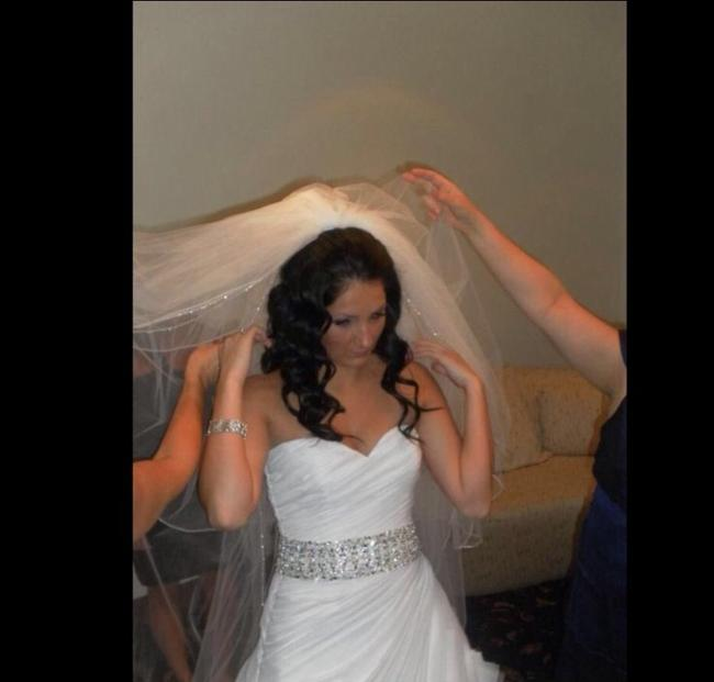 Item - White Long Crystal Detailed Cathedral Bridal Veil