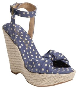Splendid Lustful Polka Dot Sandals Ankle Strap Blue Wedges