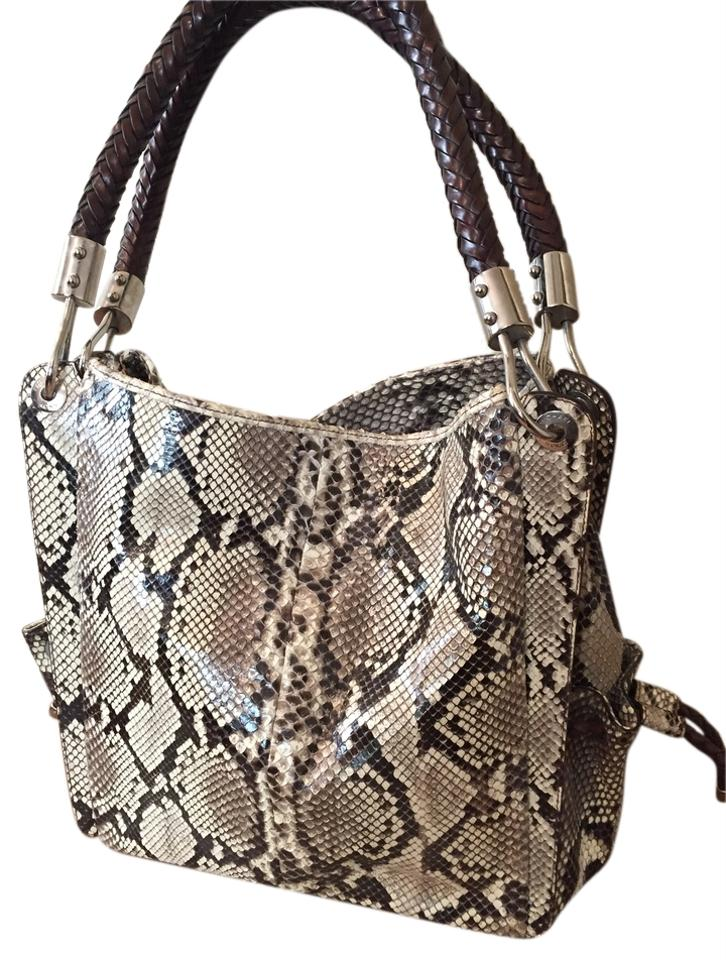 Michael Kors Leather Geniune Silver Hardware Tote In Grey Python 1234567891011