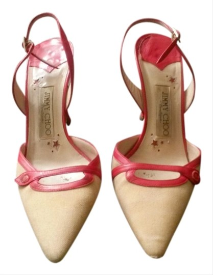 Jimmy Choo Slingback London Moleskin Fabric Leather Leather Red Pumps