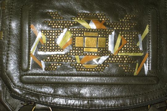 The Sak Hand Painted Leather Glazed Leather Metallic New Geometric Abstract Geometric Deep Unique Stud Detail Silver Lake Cross Body Bag