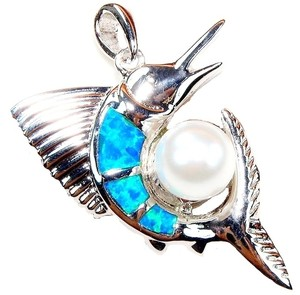 Beautiful Sterling Silver Opal and Pearl Sailfish Necklace