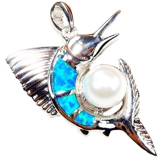Preload https://item1.tradesy.com/images/blue-sterling-silver-opal-and-pearl-sailfish-necklace-1324520-0-0.jpg?width=440&height=440