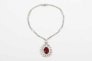 Vintage Silver Tone Red Glass Stone Rhinestone Crystal Pendant Necklace