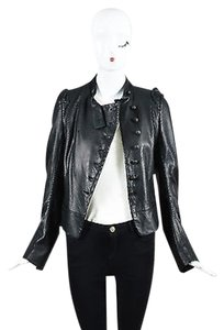 Ann Demeulemeester Scaled Leather Button Up Long Sleeve Black Jacket