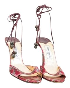 Jimmy Choo Maroon Green Satin Multi-Color Sandals
