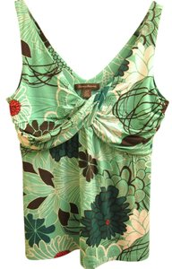 Tommy Bahama Tropical Floral Tb Top Teal brown white