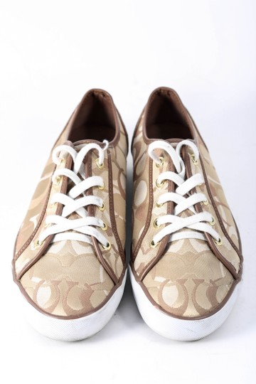 Coach Womens Brads Khaki/Chestnut Sneakers Brown Athletic Image 1