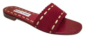 Manolo Blahnik 38 Slides Red Sandals
