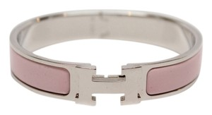 Herms Hermes Clic Clac H Rose Dragee Narrow Enamel Bracelet PM