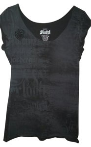 Sinful Print Distressed T Shirt Black