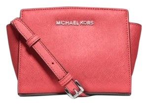 Michael Kors Mini Selma Saffiano Leather Cross Coral Messenger Bag