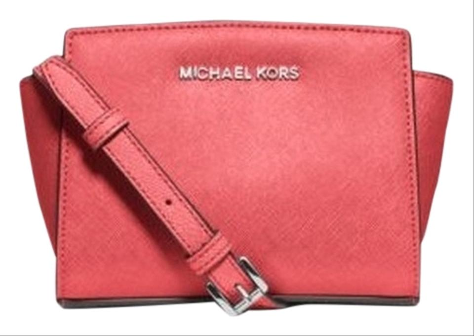 8a6dd7d610d7da Michael Kors Mini Selma Saffiano Leather Cross Coral Messenger Bag Image 0  ...