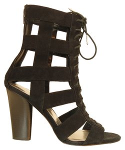 Calvin Klein Caged Suede Lace Up Black Boots