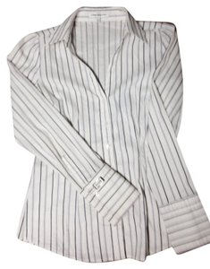 Express Button Down Shirt White w/Purple Stripes