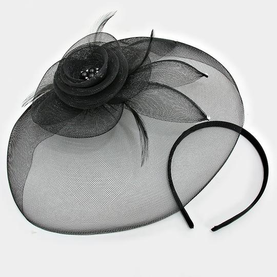 Black Flower Feather Mesh Net Crystal Accent Fascinator Barrette Clip Hair Accessory