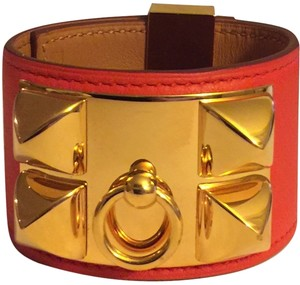 Hermès Hermes Collier de Chien Capucine Red and Gold Bracelet