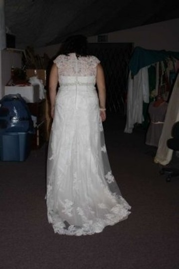 David's Bridal Ivory Polyester Lace Satin 9t3299 Vintage Wedding Dress Size 22 (Plus 2x)