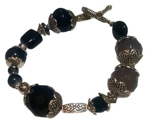 Gemstone Bracelet Black Gray Onyx Smoky Quartz Stones J362