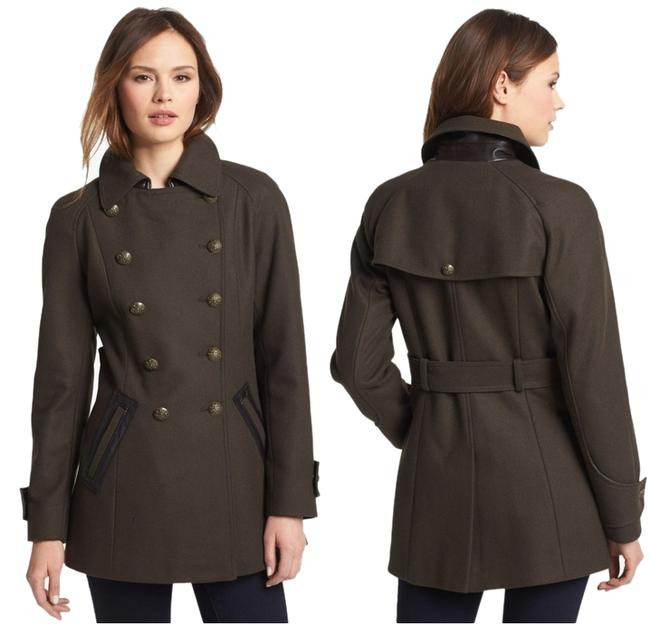 Item - Military Green Faux-leather Trim Double-breasted Wool-blend Coat Size 6 (S)