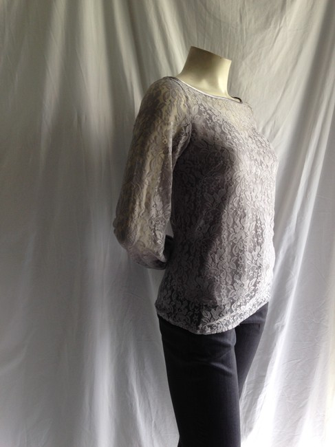 Laundry by Shelli Segal Blouse Blouson Stretch Lace Lace Cami Camisole Formal Career Work Layering Boheme Boho Feminine Top Gray