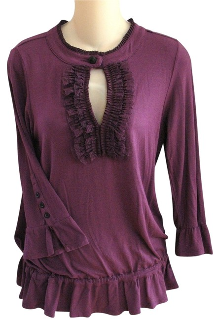 Item - Purple Anthropologie Deep Lace Ruffle Applique Embroidered Embellished Knit Super Soft S Blouse Size 4 (S)