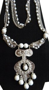 Designer Unsigned White Beaded Vintage Etruscan Revival Bead Statement Necklace