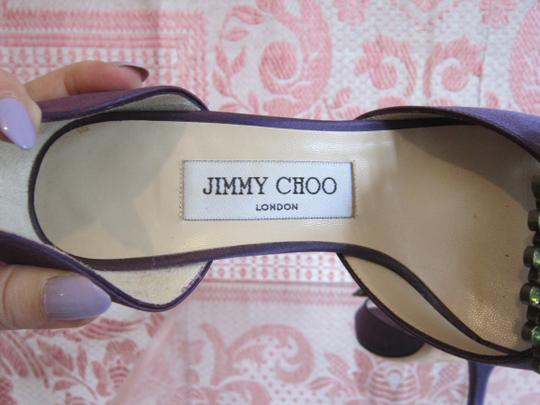 Jimmy Choo Swarovski Jeweled Satin Green Crystal Purple Formal