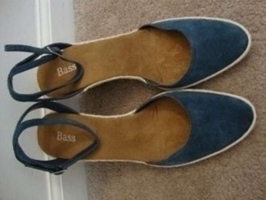 Bass Espadrille Ankle Strap Sandals New 8.5 8 1/2 Blue Wedges