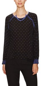 Chelsea Flower Graphic Polka Dot Top Black / Blue