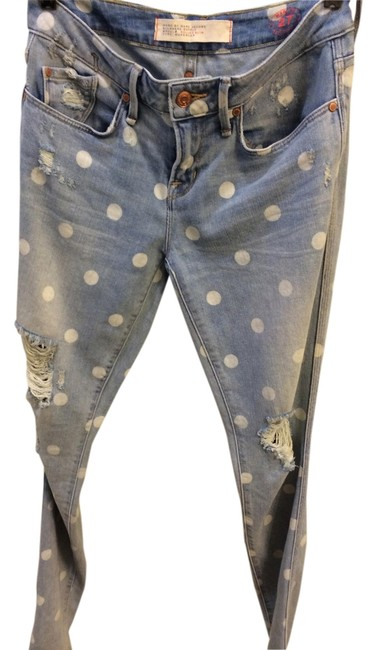 Item - Distressed Rolled Slim In Lily Dot Skinny Jeans Size 27 (4, S)