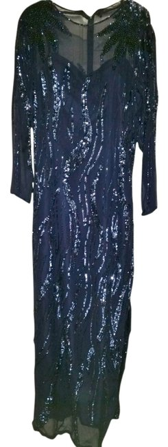 Preload https://item4.tradesy.com/images/navy-beaded-sequin-illusion-long-formal-dress-size-6-s-13255168-0-1.jpg?width=400&height=650