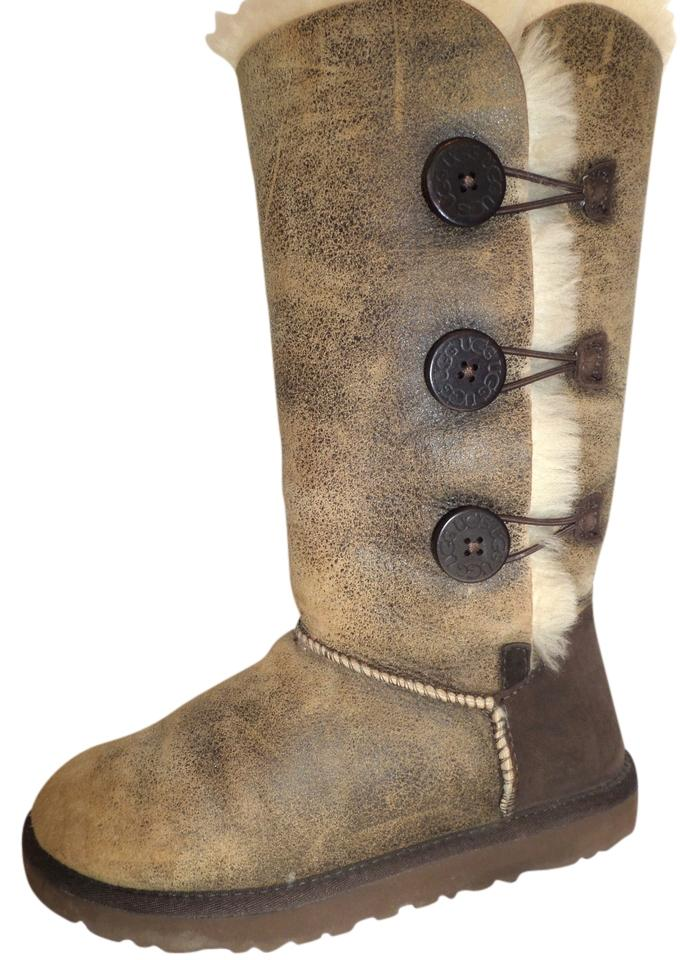 b3695108222 UGG Australia Brown Bailey Button Triplet Bomber Leather Shearling Tall  Winter Fur Lined Boots/Booties Size US 8 Regular (M, B)