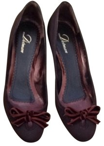 Delman Kitten Heel Heels Low Heel Wool Bow Keyhole Cute Brown Pumps