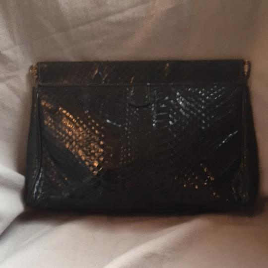 Other Convertible Snakeskin 1970's Black Clutch