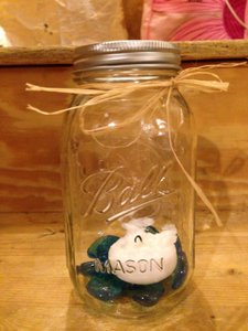 Bell Clear Mason Jars with Raffia Bow Centerpiece