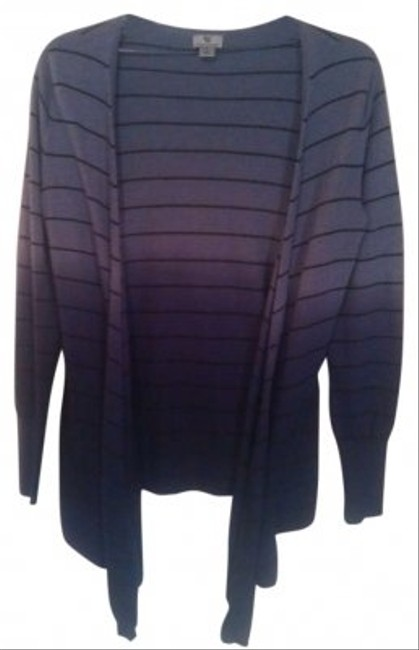 Worthington High Low fade dye Ombre Tie Striped Cardigan Small Stripes Hi Lo Boho Preppy Eclectic Trendy Casual Classic Lavender Goth Gothic Punk Sweater
