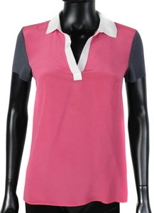 Bailey 44 Silk Polo V-neck T Shirt Pink