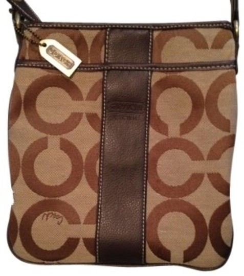 Preload https://item1.tradesy.com/images/coach-signature-jacquard-with-leather-trim-ziptop-closure-brown-tan-cross-body-bag-132570-0-0.jpg?width=440&height=440