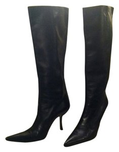 Dolce&Gabbana Vero Cuoio Made In Italy Butter Soft Leather Easy Heel Dust Bag black Boots