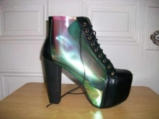 Jeffrey Campbell Lita Cleata Clear Platforms Leather Plastic High Heel Size 9 Red Blue Green black and iridescent Boots