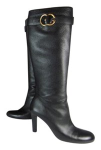 Gucci Leather Tall Gg Logo Boots