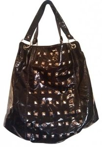 patent leather Edgy Goth Punk Rocker Tote in black silver studded