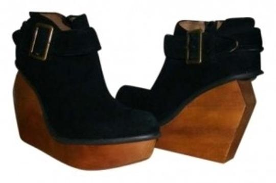 Jeffrey Campbell Boot Bootie Platform Heels Suede Wood Architectural Buckle black Wedges